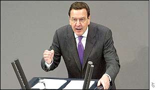 Gerhard Schroeder addressing the Bundestag