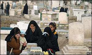 Iraqis visit a graveyard