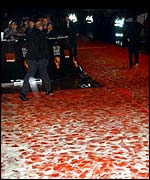 The red carpet at the Bafta film awards in 2002
