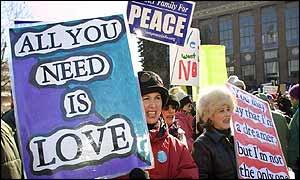 Anti-war protestors in Ann Arbor, Michigan, in the US