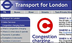 Congestion charge website, Transport for London