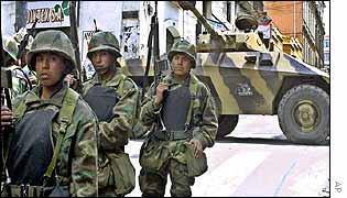 Soldiers patrol La Paz