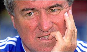 Terry Venables shows the strain during his second spell at Crystal Palace