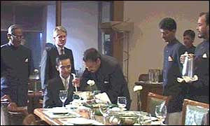 Stephen Hurst takes the butlers through their paces at dinner