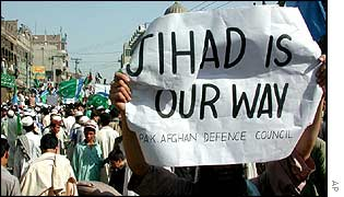 A pro-Osama bin Laden protest in Peshawar, Pakistan