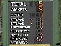 The scoreboard after Vaas' first over against Bangladesh
