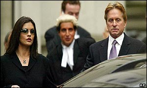 Catherine Zeta Jones and Michael Douglas outside the Royal Court of Justice in London