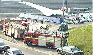 Emergency vehicles surround the Concorde model at Heathrow