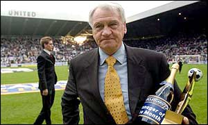 Sir Bobby Robson with his manager of the month award