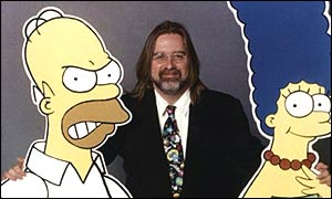 Homer Simpson with Matt Groening and Marge