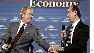 President Bush with businessman Joseph Dagher at a forum for small businesses