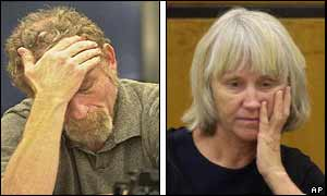 Former SLA member Michael Bortin holds his head as he is sentenced, as does Sara Jane Olson