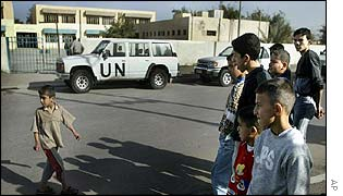 UN inspectors checking Badir al-Kubra Primary School in Baghdad
