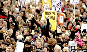 Anti-war protesters at Hyde Park rally