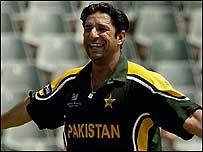 Wasim takes a wicket