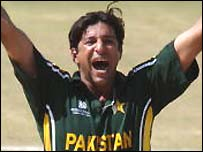 Wasim Akram successfully appeals for an lbw against Namibia