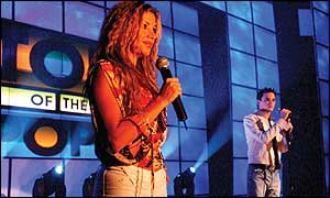 Razan presents the Arabic version of Top of the Pops, with Gareth Gates