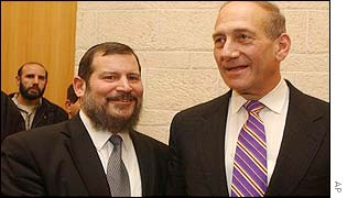 Lupolianski (left) and outgoing mayor, Ehud Olmert