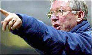 Alex Ferguson shouts at his players