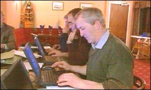 farmers at computer lessons
