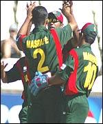 Bangladesh celebrate a Canada wicket taken by Mashrafe Mortaza