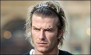 David Beckham sustained a cut eye after being hit by a football boot kicked by Sir Alex Ferguson