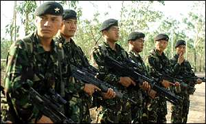 Current members of the Gurkhas in East Timor