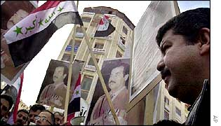 Palestinians rally in support of Saddam Hussein