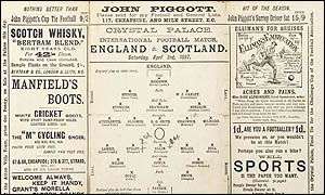Official Scotland versus England programme from 1897