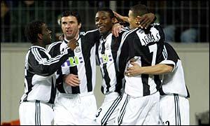Newcastle celebrate Shola Ameobi's opener