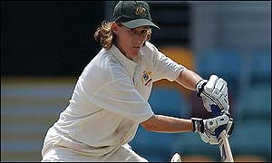 Belinda Clark batting in Brisbane