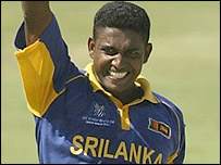 Prabath Nissanka celebrates another wicket