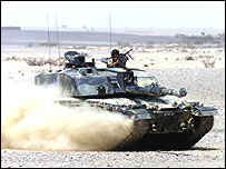 Desert Rats Challenger tank on exercise in Oman