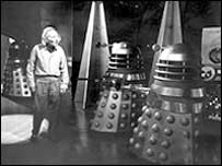 Dr Who (William Hartnell) confronts the Daleks in 1963