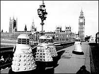 Daleks threaten London in an early Dr Who episode