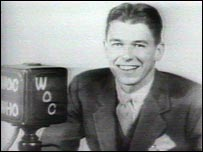 Ronald Reagan commentating on a baseball game