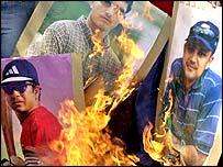 Indians burn pictures of their players after the defeat to Australia