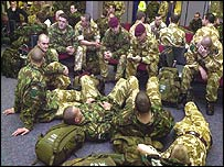 Soldiers prepare to leave RAF Brize Norton
