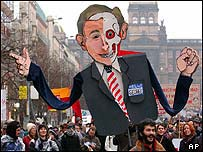 George Bush effigy at Prague anti-war demonstration