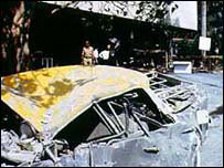 A car blown out after th 1993 blast in Bombay