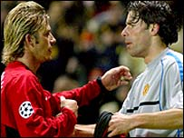David Beckham played in Ruud van Nistelrooy for the second goal
