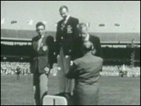 On medals podium in 1956