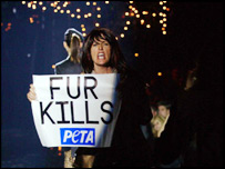 Anti-fur protesters on the catwalk