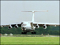 An Ilyushin Il-76, the type of plane reported to have crashed