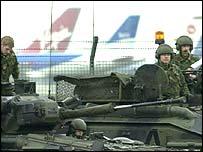 Troops on patrol at Heathrow airport