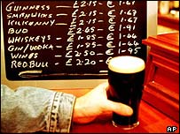 A pint of Guinness being purchased in an Irish pub