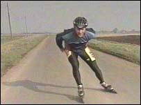 Mr Robinson practising fen skating