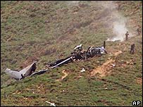 Wreckage of the missing men's plane