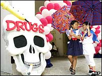 Anti-drug campaign display in Bangkok, 2001