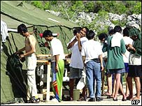 Asylum seekers in a camp on Nauru